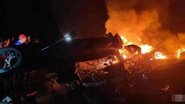 網傳兩架中共軍機相撞 現場火光沖天傷亡不明