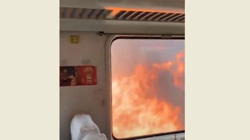 惊险!北京至齐齐哈尔列车被路侧大火逼停(视频)