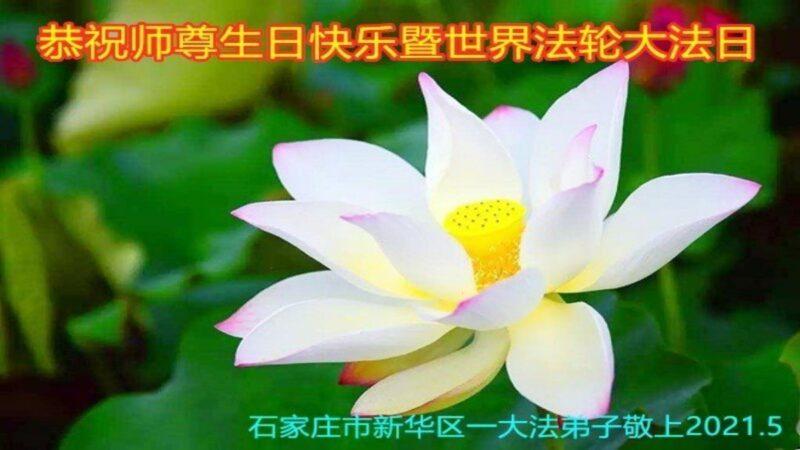 石家庄法轮功学员恭贺世界法轮大法日李洪志大师暨师尊华诞
