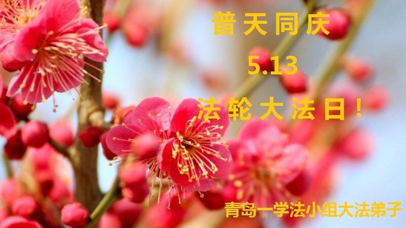 青岛法轮功学员恭贺世界法轮大法日暨李洪志大师华诞(20条)