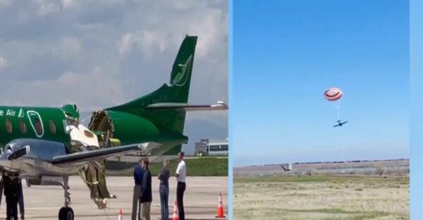 美两架小飞机空中猛烈相撞 奇迹降落无人伤(视频)