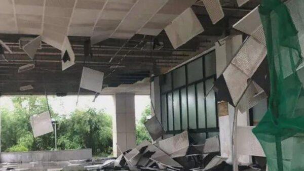 狂风暴雨突袭武汉 吊篮撞高楼致2人丧命(视频)
