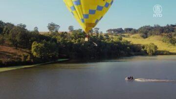 世界首次 澳洲高手挑战热气球18米高跳水