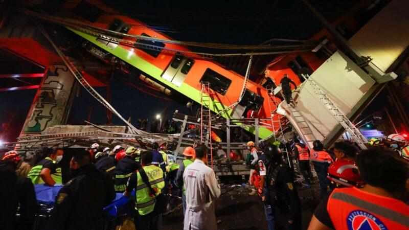 墨西哥高架橋坍塌 列車墜地面成V字 已知20死70傷