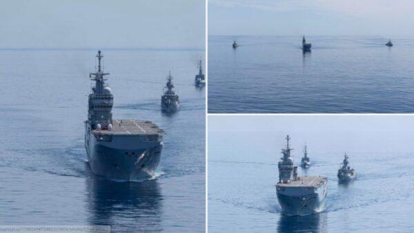 警告中共? 澳法軍艦編隊再度巡航南海