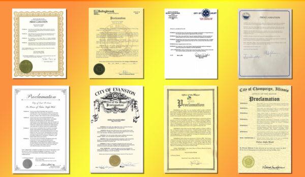 祝賀世界法輪大法日 美國伊州八市褒獎