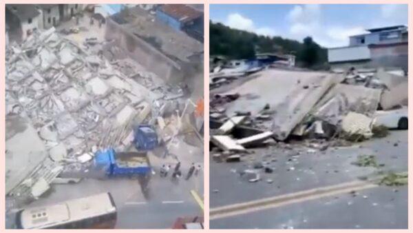 湖南7层居民楼垮塌已致3死 党媒报导惹疑(视频)