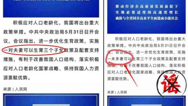 國人吐槽三胎惹惱當局 麗水網民P圖惡搞被抓