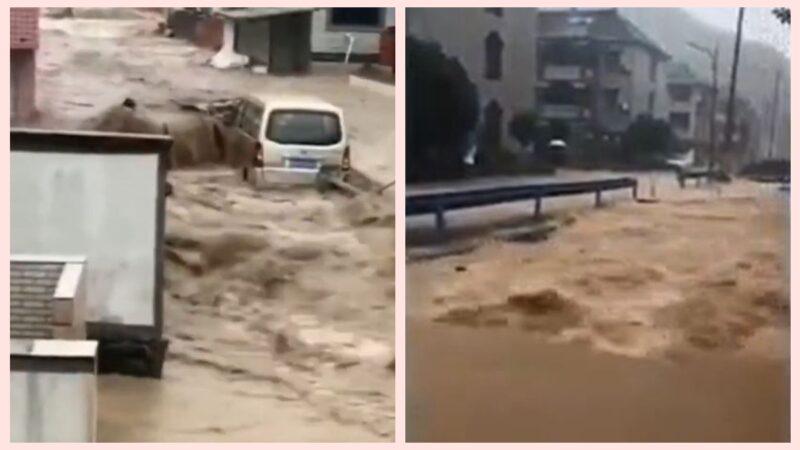 """台风""""烟花""""提前登陆 村民: 30年没见过这么大洪水"""