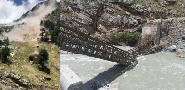 印度豪雨酿灾 惊人落石瞬间砸毁桥梁(视频)
