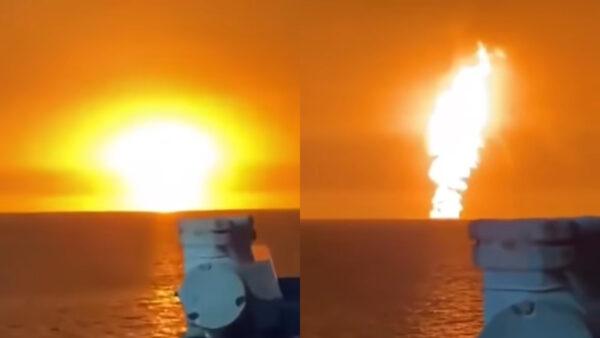 里海水域突發爆炸 噴出巨大火球、火柱衝天