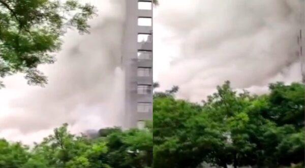 北京朝阳世茂大厦发生火灾 白烟滚滚(视频)