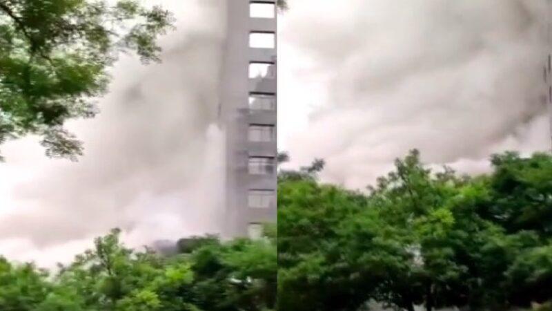北京朝陽世茂大廈發生火災 白煙滾滾(視頻)