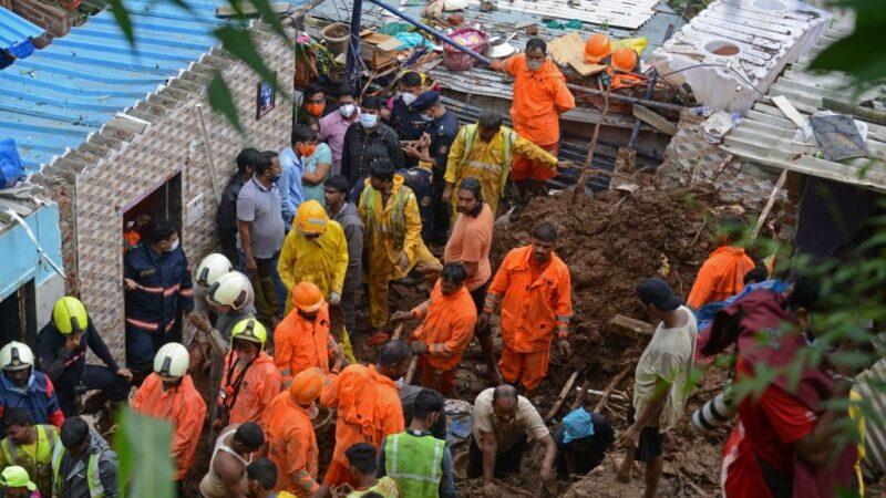 印度孟买暴雨土石流 至少25死多人遭活埋