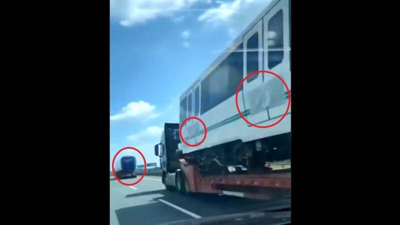 疑郑州地铁车厢被蒙黑布拉出城外 近距离视频曝光