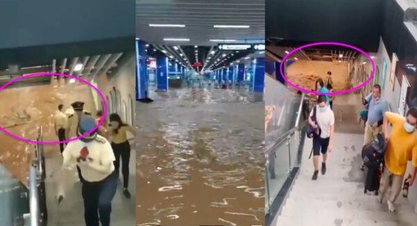 廣州地鐵神舟路站被淹 乘客、職員急逃生(視頻)