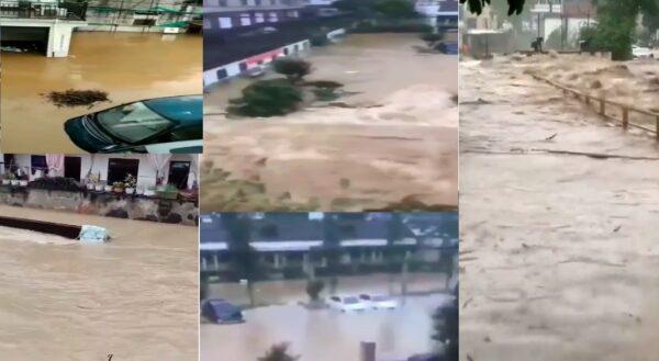 颱風未登陸 浙江多地洪水滾滾 房被淹人被沖走