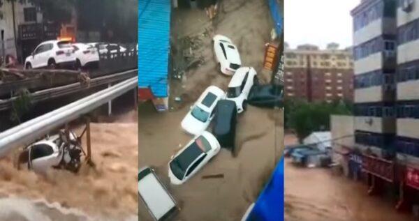 河南暴雨破极值 巩义信号塔冲塌