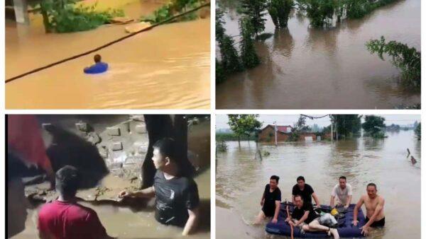 河南村民加高河堤自救 官兵毁堤泄洪引发冲突