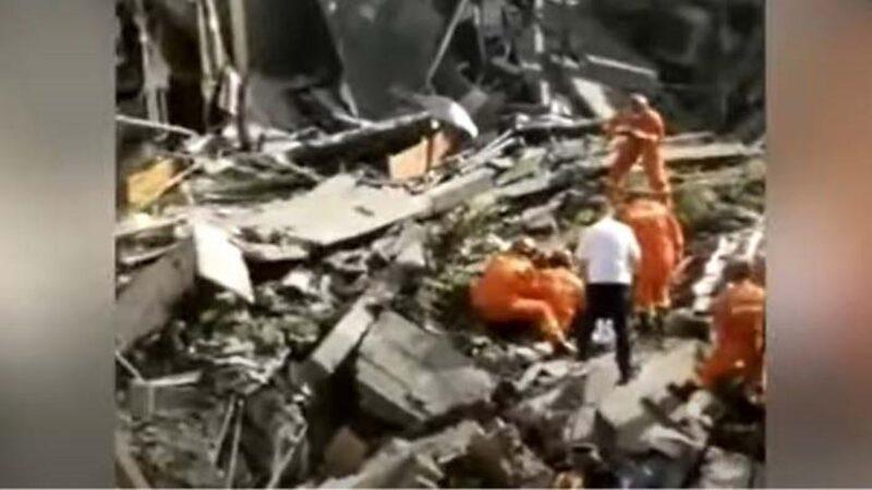 中国苏州酒店突倒塌 至少1死7伤10人失踪(视频)
