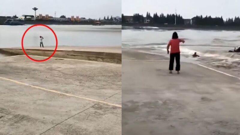 """惊悚!杭州男子拍摄""""鬼王潮"""" 被潮水扑倒卷走"""