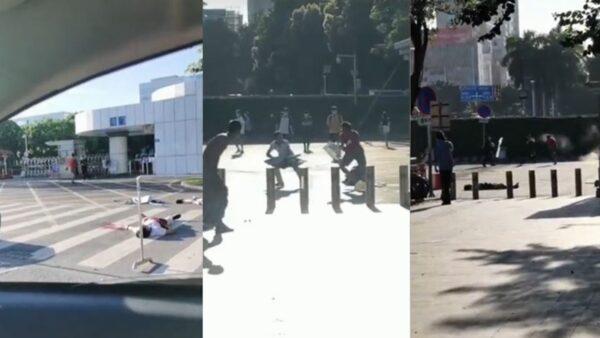 廣州男區政府前持刀砍人 被警方槍擊倒地