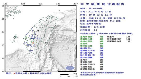 台湾南部19时52分4.7地震 最大震度台南嘉义