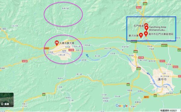 漢中勉縣洪災嚴重,中共央視卻去報導漢中另一河流褒河石門水庫的開閘泄洪。(Google地圖)