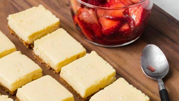 芝士蛋糕块口感顺滑 制作简单 便于携带