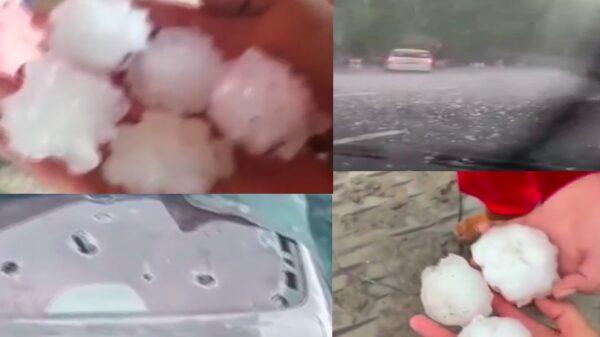 黑龍江大慶突遭冰雹襲擊 汽車玻璃被砸爛(視頻)