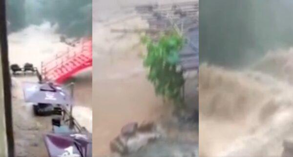 廣東暴雨釀災 清遠街道成河 景區山洪爆發(視頻)