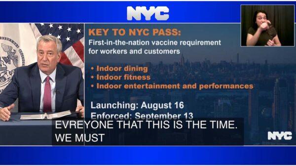紐約市將要求進餐廳和劇場出示疫苗接種證明