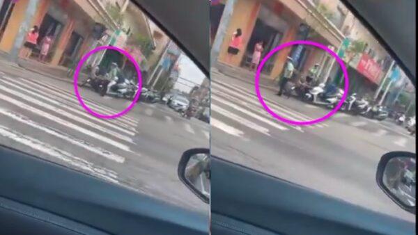 8月10日上午,廣東茂名市電白區麻崗鎮一男子持刀砍交警,現場其他交警趕緊跑離現場了。(視頻截圖/新唐人合成)