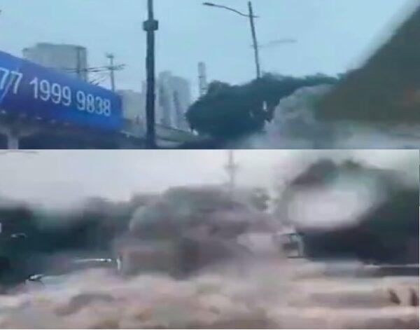 8月29日,河南暴雨,郑州航海路隧道形成巨大瀑布。(视频截图/新唐人合成)