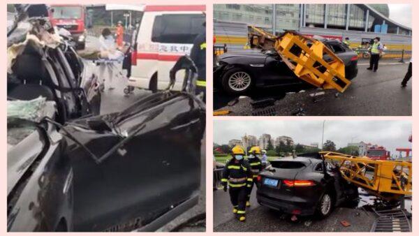 慘!江蘇工地高壓旋噴樁倒下 過路轎車當場砸扁