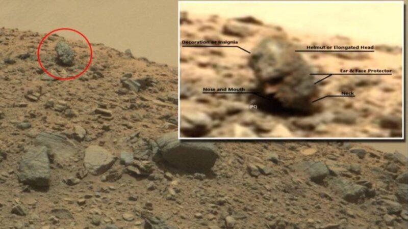 """火星上拍到神秘""""人头雕像"""" 疑似外星人头骨"""