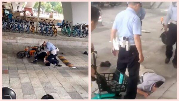 廣州警察當街跪壓男子頸部 引發輿論譴責