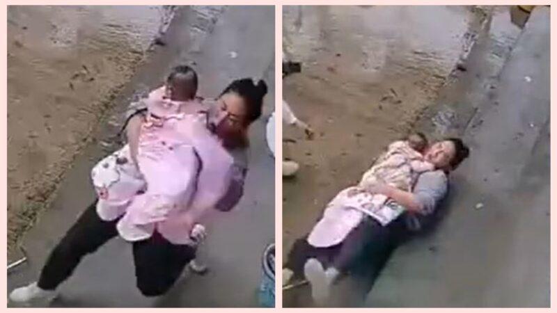 中國媽媽抱著孩子摔倒 本能反應感動網民(視頻)