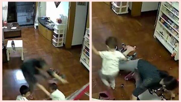 餐桌砸向孩子 廣州媽媽飛撲用身體擋住(視頻)