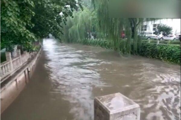 9月4日,北京暴雨,清华大学北门附近的万泉河水位,已经涨至接近桥身。(视频截图)