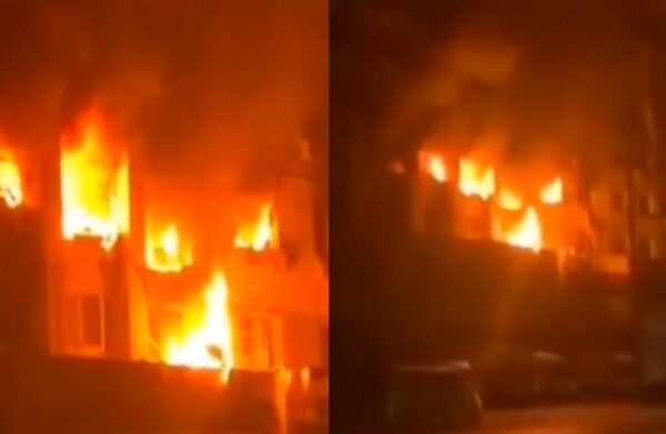 9月11日凌晨,大连一住户家中发生爆燃致8死5伤。现场火舌从多个窗户窜出。(视频截图/新唐人合成)