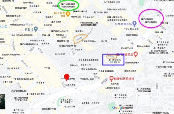 廈門大學附屬第一醫院一後勤核檢陽性。該醫院附近有廈門市公安局出入境大樓(藍色框中)、廈門市教育局(粉色圈中)。(Google地圖)