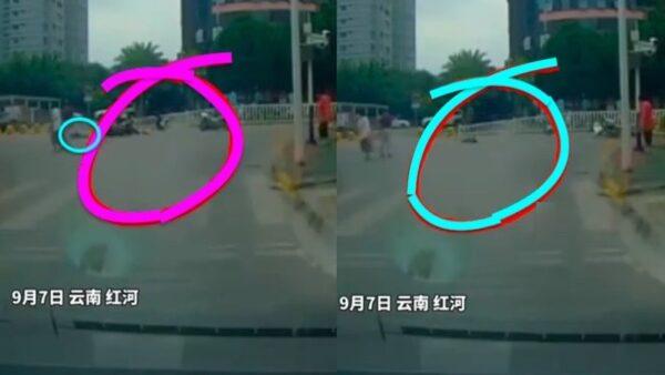 云南两辅警骑警驾摩托车撞死行人(视频)