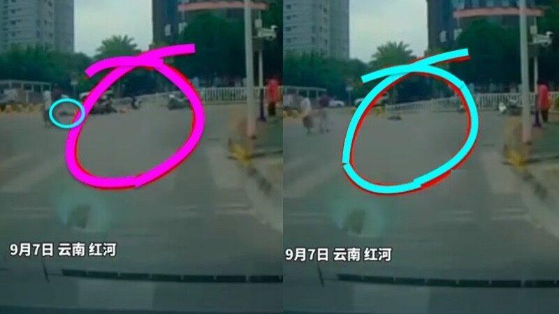 雲南兩輔警騎警駕摩托車撞死行人(視頻)