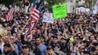 纽约市政工作人员大游行 抗议强制疫苗令