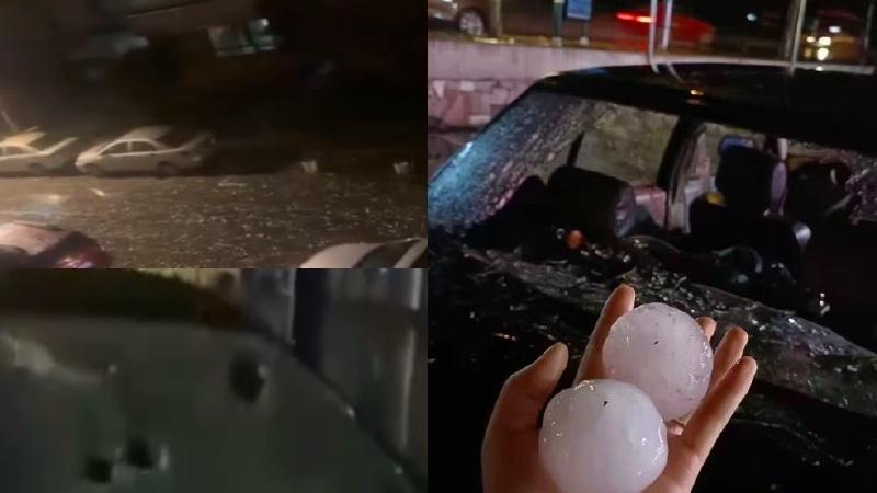 """""""国殇日""""大连降鸡蛋大冰雹 砸烂汽车玻璃"""