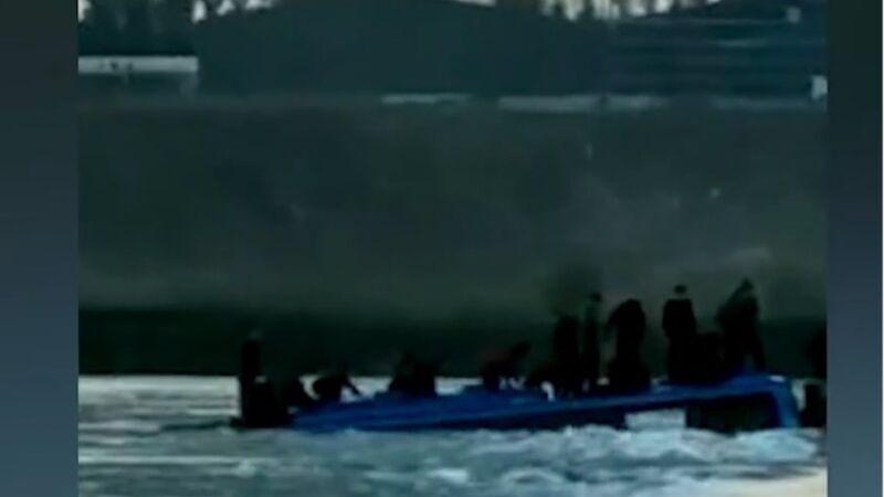 河北石家莊平山縣載51人大巴墜河(視頻)