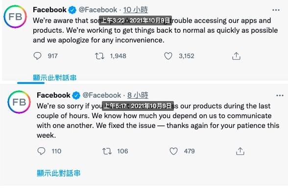臉書再當機。,臉書(Facebook)的推特(Twitter)帳號發貼文披露此事。(網頁截圖)