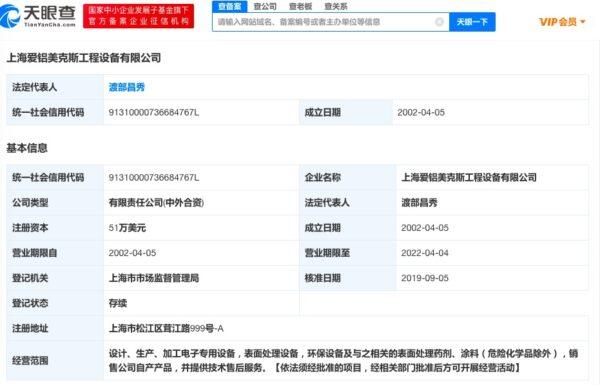 上海火災。天眼查顯示,涉事公司名稱為「上海愛鋁美克斯工程設備有限公司」。(網頁截圖)