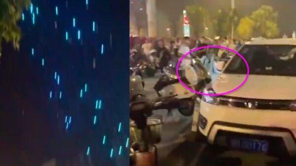 """郑州""""十一""""无人机表演 失控后纷纷坠落(视频)"""